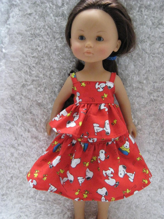 Red Snoopy Outfit for Corolle Les Cheries, Hearts for Hearts Girls or Groovy Girl Doll