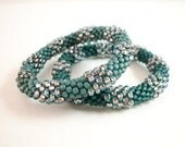 Reserved for Kim - Bead Crochet Bangle Set in Teal Blue 1026ab
