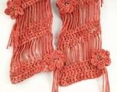 Crocheted Flower Scarf Bias Design OOAK in Yam Red-Orange - Item 1050