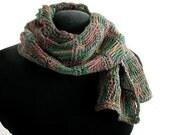 Crochet Merino Wool Scarf in Flirty Forest Colors- Item 1042