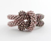 Reserved Item - Bead Crochet Love Me Knot Bracelet in Blush and Green - Item 924a