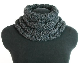 Bulky Knit Cowl: Battlement in Charcoal Grey - Item 1068