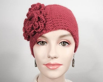 Handknit Red Wool Hat with Flowers: the Camillia Toque - Item 1089