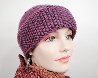 Warm Knit Hat - Chunky Knit Hat in Purple Grape - Item 1071