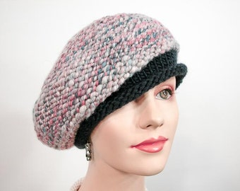 Slouchy Hand Knit Beret, in Coral, Blue and Cream Handspun Yarn - Item 1169
