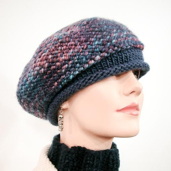 Handspun Yarn Hand Knit Beret - OOAK Slouchy, Chunky Knit Beret in Blue and Rose  - Item 1060