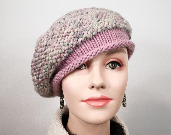 Knitted Slouchy Beret - Handspun Yarn Beret, in Pink Confection Candy Colors, Wool Beret - Item 1073
