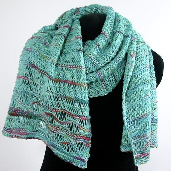 Hand Knit Shawl OOAK Summer Wrap Edgewater Treasure in Aqua Merino with Silver - Item 1034