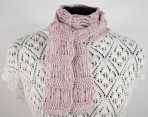 Flirty Crocheted Scarf in Pale Pink  - Item 1118