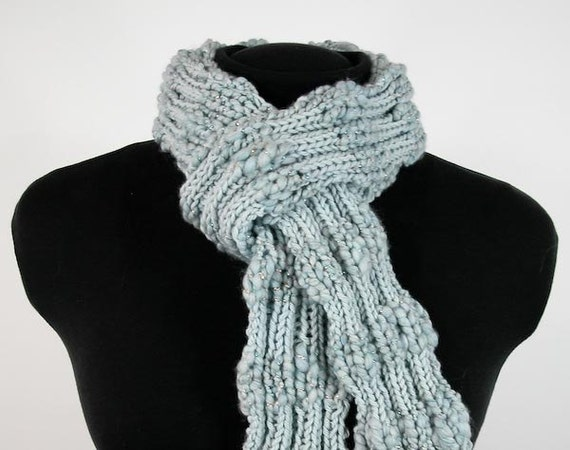 Reserved for Colleen: Skinny Hand-Knit Scarf with Handspun Merino Yarn in Robin Egg Blue - Item 1160