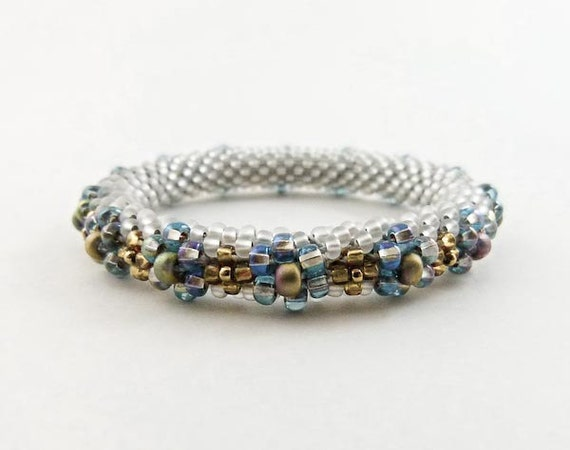 Flower Bracelet - Bead Crochet Bangle in Silvery Grey-white, Aqua, Amber and Brass- Item 1229