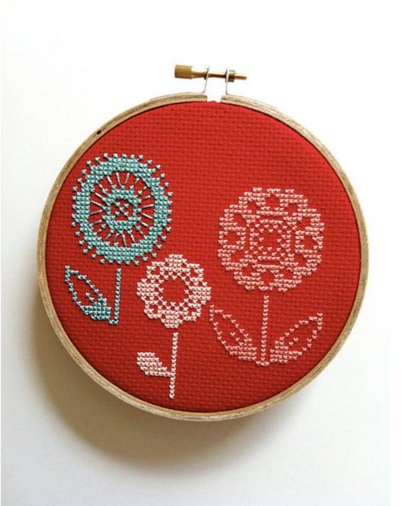 Flower Trio cross stitch wall hoop / wall hanging