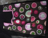 Two Reuseable Shopping Bag Designer Pink Green Dots Brown Fabric