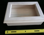 Custom wood box with etched glass top.