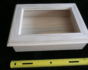 Large Poplar wood box with etched glass top.