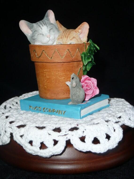 Kitties in a flower pot music box