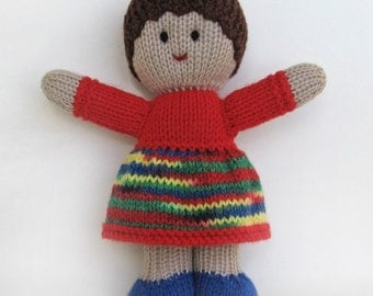 "KNITTED DOLL - ""Harmony"" - Baby Buddy with light brown skin tone"