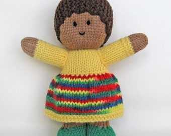 "KNITTED DOLL - ""Karmina"" - Baby Buddy with dark brown skin tone"