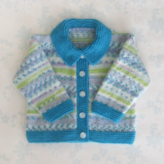 Baby Girl SWEATER / JACKET with collar - 6 to 12 months size - (multicoloured patterned yarn with turquoise collar and cuffs)