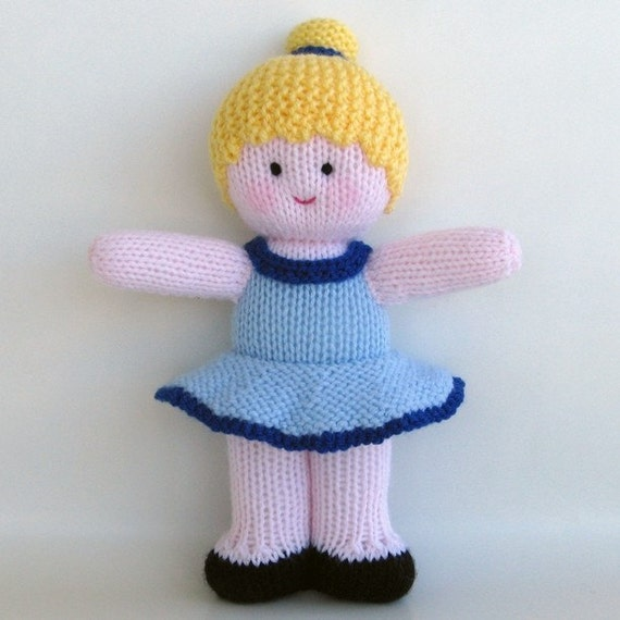 "KNITTED DOLL - ""Bella""  - Ballet Dancer Buddy with pink skin tone"