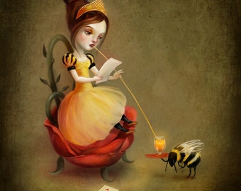 Queen Bee Reads a Love Letter -  11 X 14 print