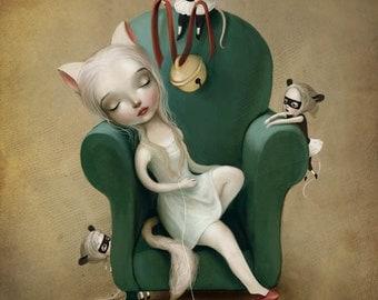 Belling the cat 11x14 print aesop s fable cat art cat girl