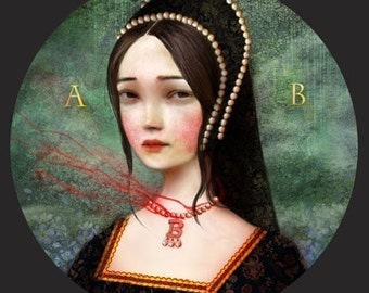 Anne Boleyn 8X8 print - Ann Boleyn art, King Henry VIII, contemporary modern portrait, history nerd, history buff gift | Meluseena