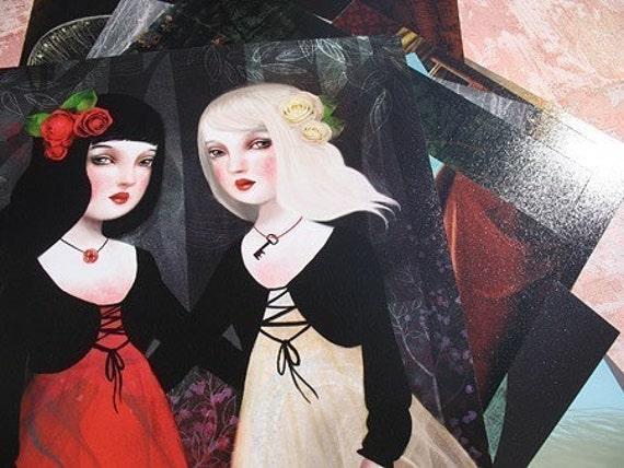 Snow White and Rose Red - Lisa Falzon print
