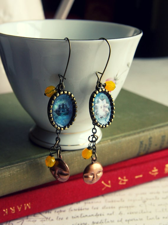 Ship and Guiding Star - unique Meluseena earrings