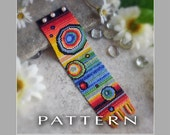 Peyote Beading Pattern : Rainbow Bubbles Bracelet Cuff - Instant Download