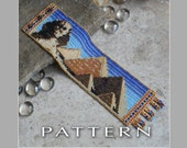 Peyote Beading Pattern : Sphinx and Pyramid Bracelet Cuff - Instant Download