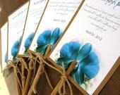 Hawaiian Tropical Turquoise Orchid Beach Wedding Program Fan Natural Bamboo Stick Handle - Custom listing for Kristina Cook