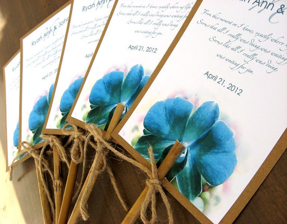 Hawaiian Tropical Turquoise Orchid Beach Wedding Program Fan Natural Bamboo Stick Handle - Custom listing for Kristina Cook