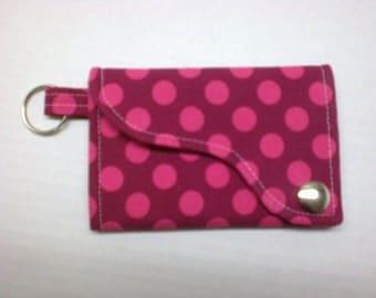 Tri-fold Credit Card / Business Card Holder/ Keyfob  made w/Designer fabric Ta Dot in Fuschia