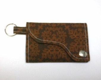 Tri-fold Credit Card / Business Card Holder/ Keyfob  made w/Designer fabric Damask in Brown