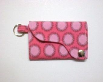 Tri-fold Credit Card / Business Card Holder/ Wallet/ Keyfob made w/ Designer fabric Laurel Dots in Cherry
