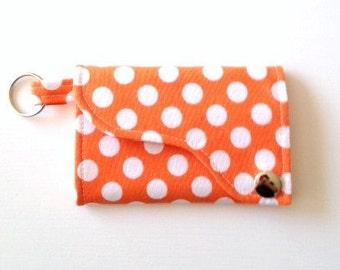 Tri-fold Credit Card / Business Card Holder/ Keyfob  made w/Designer fabric Ta Dot in Tangerine