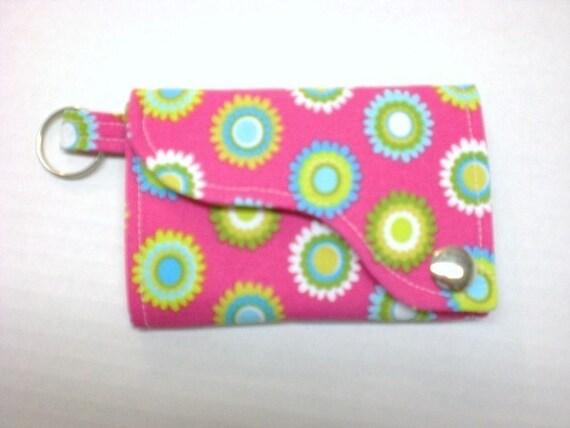 Tri-fold Credit Card / Business Card Holder/ Keyfob  made w/Designer fabric Pretty Bird in Pink