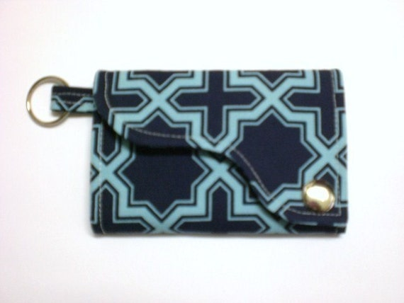 Tri-fold Credit Card / Business Card Holder/ Key Fob made w/ Designer fabric Nap Sack in Lake