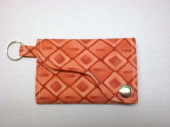Tri-fold Credit Card / Business Card Holder/ Wallet/ Keyfob  made w/ Designer fabric Solace in Coral