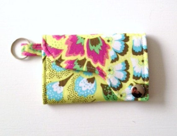 Tri-fold Credit Card / Business Card Holder/ Wallet/ Keyfob made w/ Designer fabric Peacock Feathers in Bright Pear