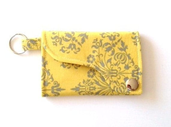Tri-fold Credit Card / Business Card Holder/ Wallet/ Keyfob  made w/ Designer fabric Park Fountains in Mustard