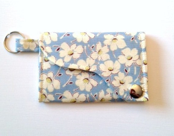 Tri-fold Credit Card / Business Card Holder/ Wallet/ Keyfob made w/ Designer fabric Wind Flowers in Stainless