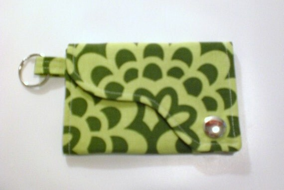 Tri-fold Credit Card \/ Business Card Holder\/ Keyfob  made w\/ Amy Butler fabric Wall Flower in Green