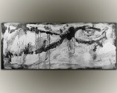Large Abstract Painting Black and White - 60x24 -Minimalist Original Painting by Andrada - COA
