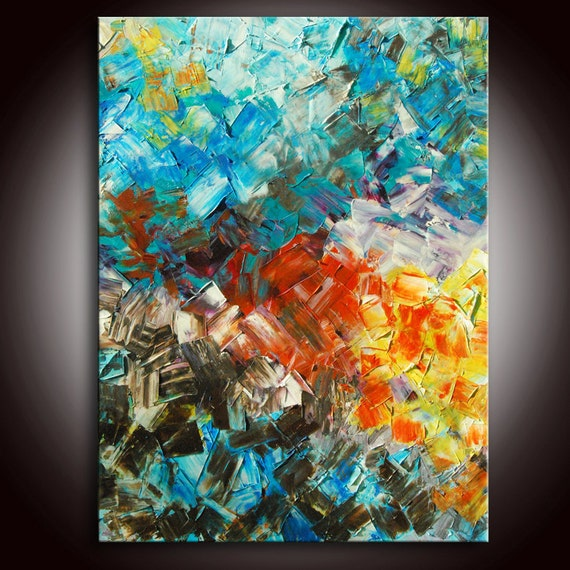 RESERVED FOR CHRIS - Large Textured Original Mixed Media Painting with Certificate of Authenticity by Andrada - 48x36
