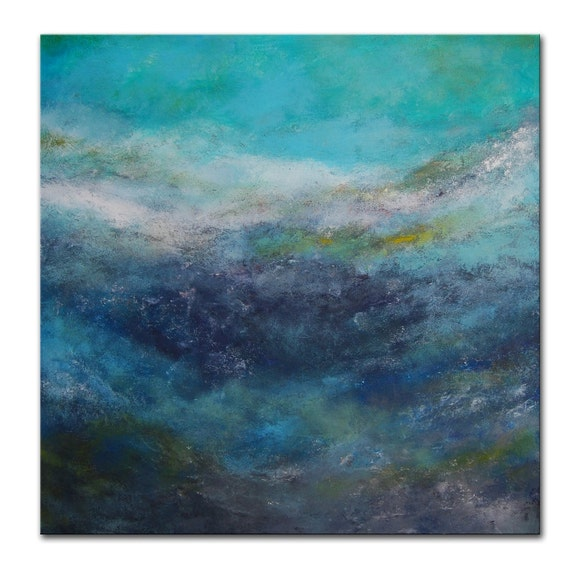 Blue Abstract Painting Aqua Art Water Ocean Sea Made to Order Large Abstract Painting by Andrada  48x48