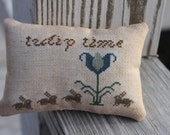 Tulip Time Easter Spring Mini Pillow Cross Stitch