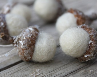 Christmas Ornaments Winter White Felted Acorns Set of 6 Tree Decorations Package Tie Ons