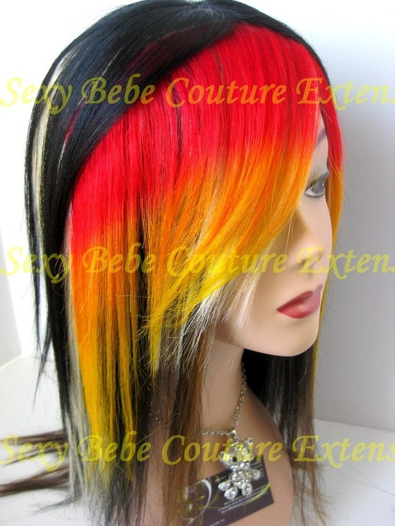 Wildfire Red Orange Yellow Clip In Hair By Sexybebecouture